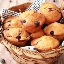 Vegan blueberry muffins in a basket