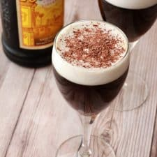 Kahlua coffee in glasses topped with chocolate shavings.
