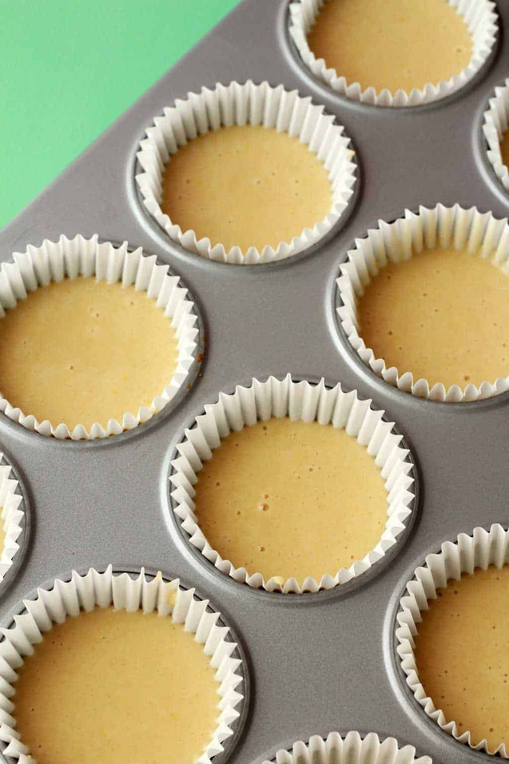 Vegan lemon cupcakes about to go into the oven.