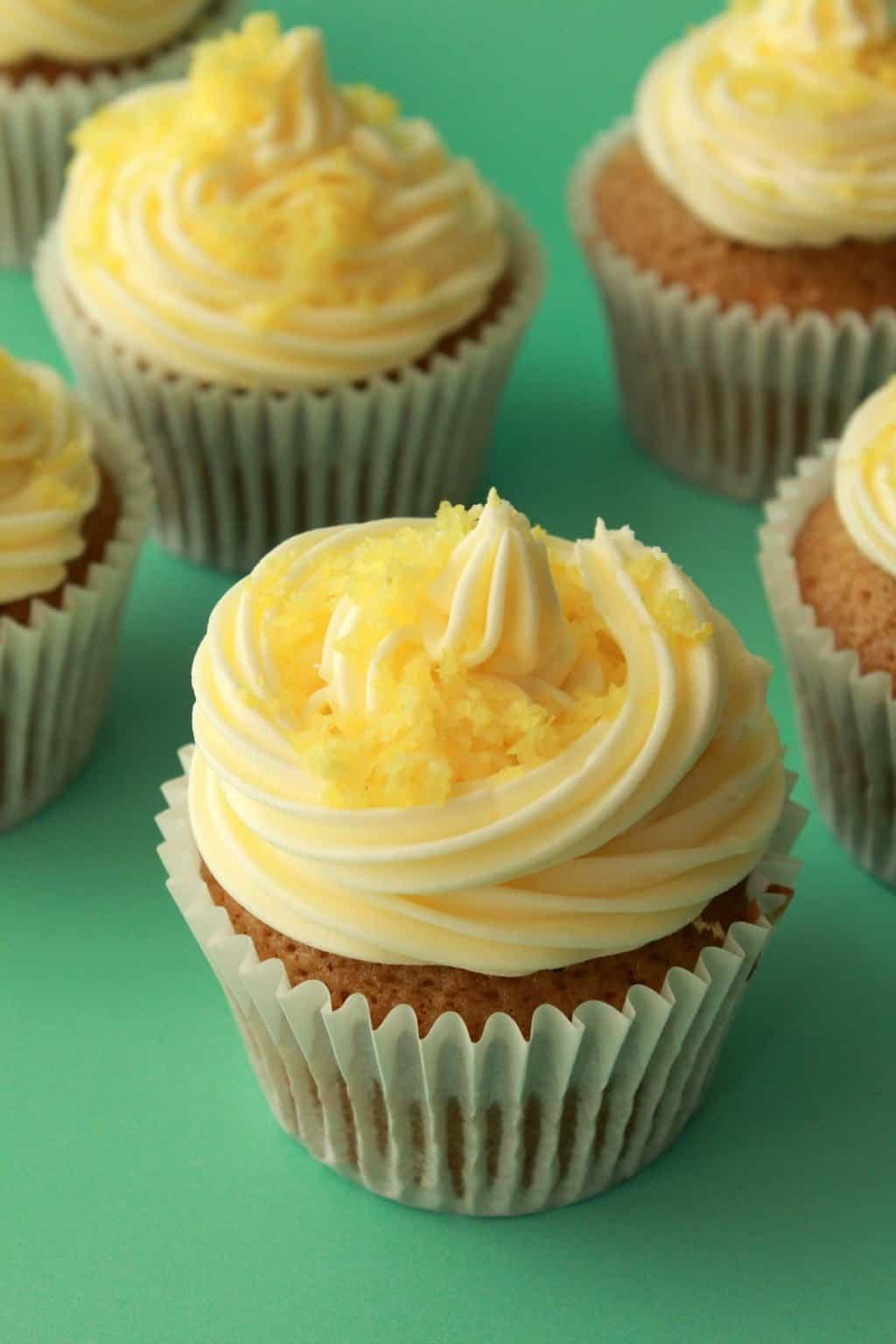 Vegan Lemon Cupcakes with Lemon Buttercream Frosting. #vegan #lovingitvegan #cupcakes #dessert