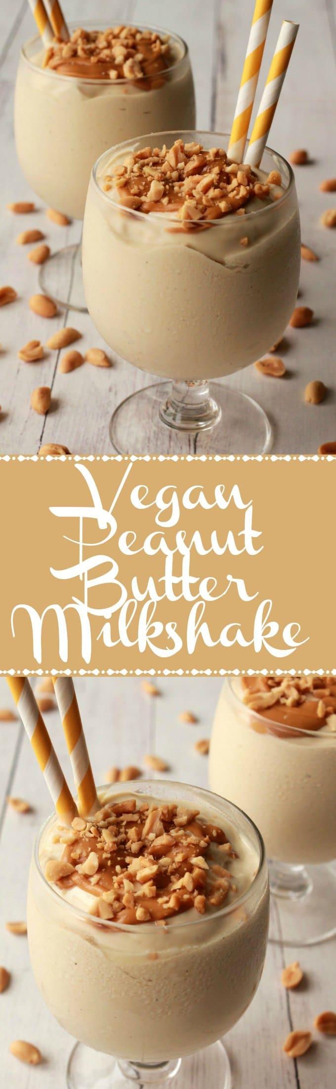 Double-Thick and Ultra Creamy Vegan Peanut Butter Milkshake #vegan #lovingitvegan #peanutbutter #dairyfree #glutenfree #milkshake #dessert