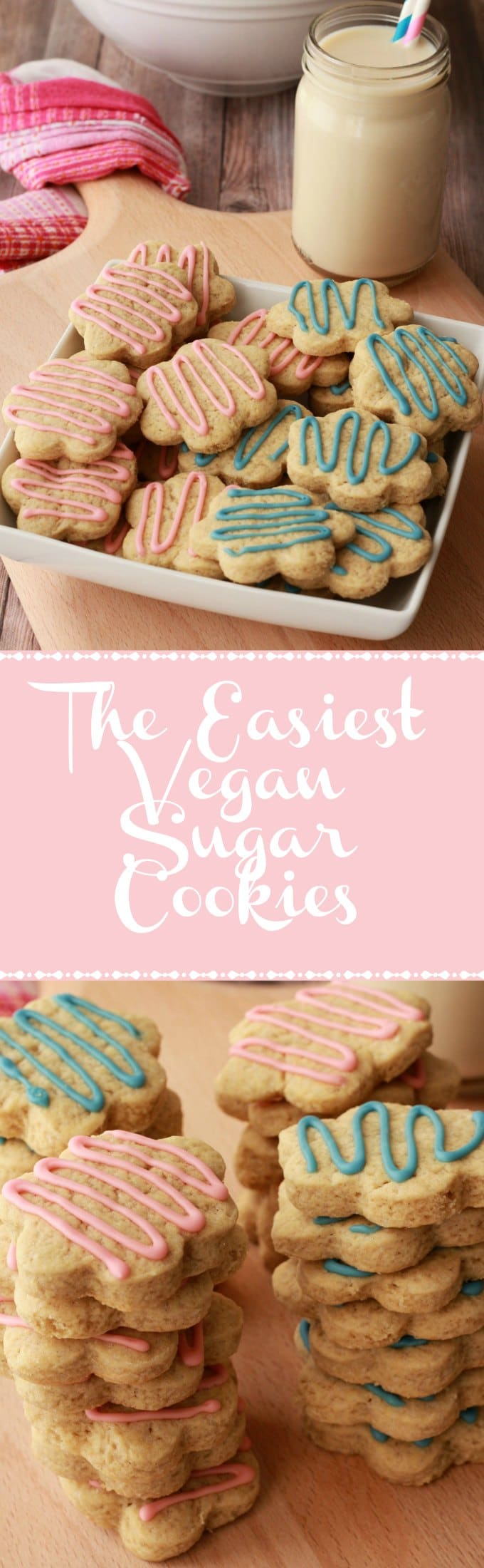 Colorful and fun vegan sugar cookies. These soft and chewy sugar cookies are super easy to make and perfect for any occasion. vegan | vegan dessert | vegan cookies | vegan food | Vegan recipes | lovingitvegan.com