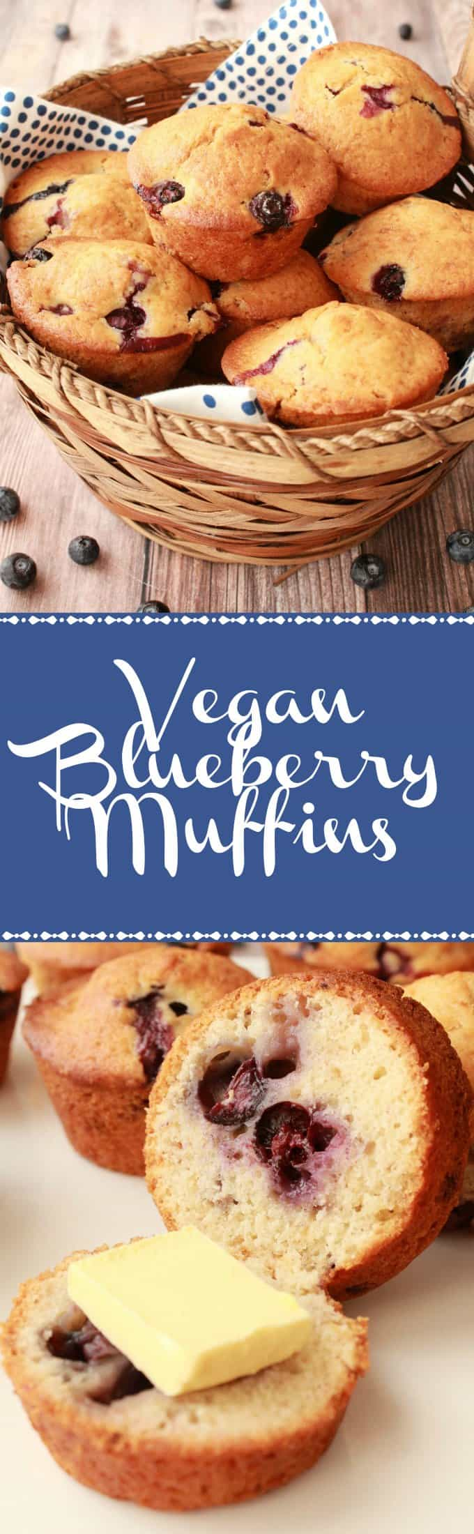 Easy and delicious vegan blueberry muffins. These moist and perfectly sweet muffins are packed with blueberries and simply divine spread with vegan butter. Vegan | Vegan Breakfast | Vegan Dessert | Vegan Muffins | Vegan Food | Dairy-Free | lovingitvegan.com