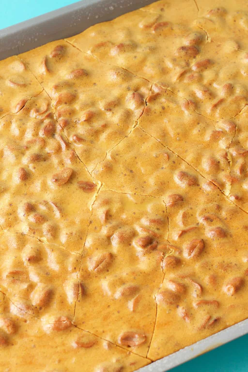 Vegan Peanut Brittle. Deliciously sweet and crunchy. Wonderful as a dessert or snack. #vegan #lovingitvegan #glutenfree #dairyfree #dessert #peanutbrittle
