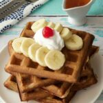 Golden Brown and Crispy Vegan Banana Waffles