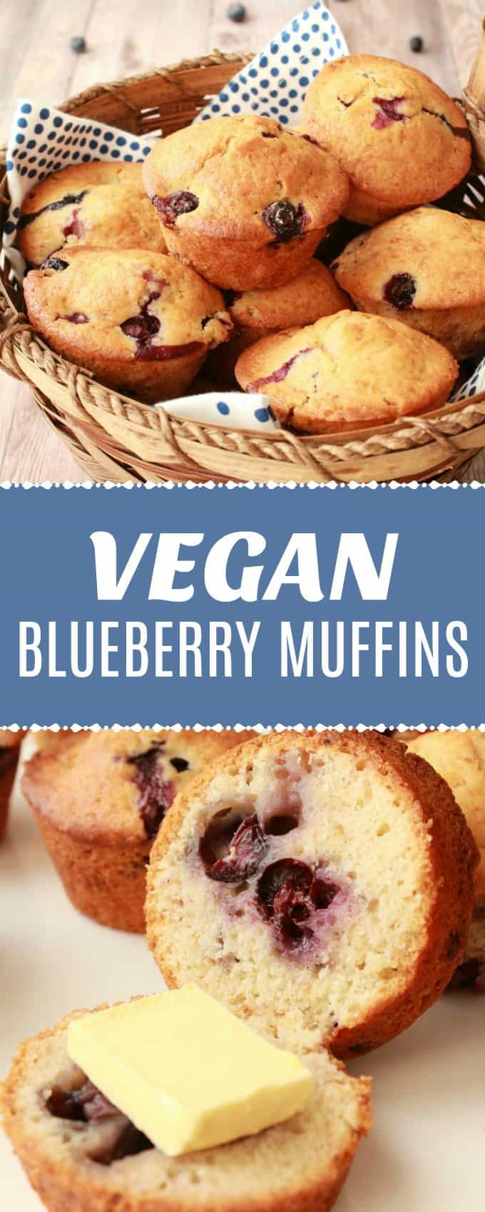 Easy and delicious vegan blueberry muffins. These moist and perfectly sweet muffins are packed with blueberries and simply divine spread with vegan butter. | lovingitvegan.com