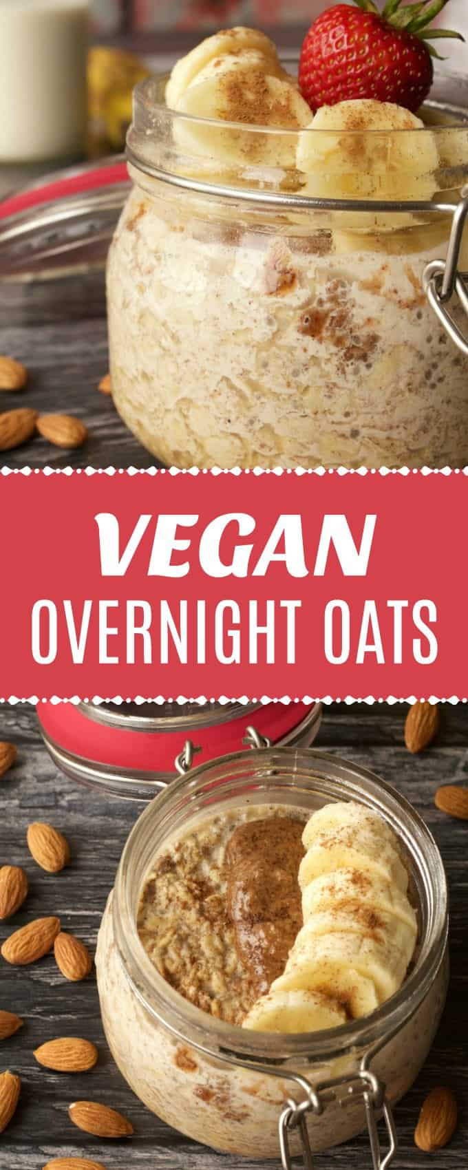 Quick and easy vegan overnight oats with chia seeds and almond butter! Simple recipe for a healthy and nutritious breakfast. Gluten-Free. #vegan #glutenfree #breakfast | lovingitvegan.com