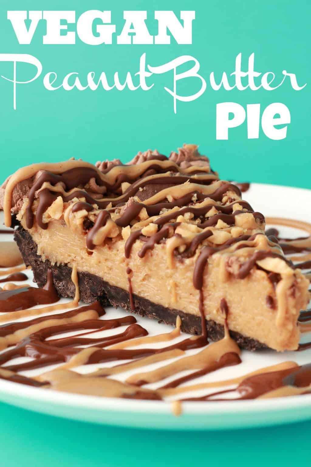 A slice of vegan peanut butter pie on a white plate.