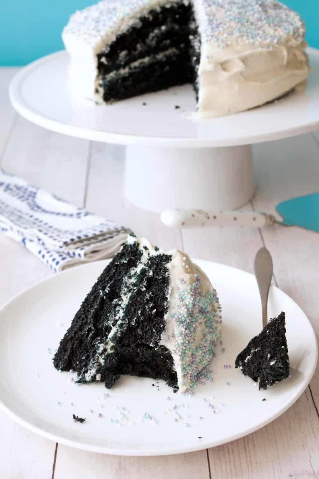 Vegan Blue Velvet Cake. Midnight blue cake frosted with vegan vanilla frosting. Simple, moist and delicious! #vegan #lovingitvegan #dessert #cake #bluevelvet