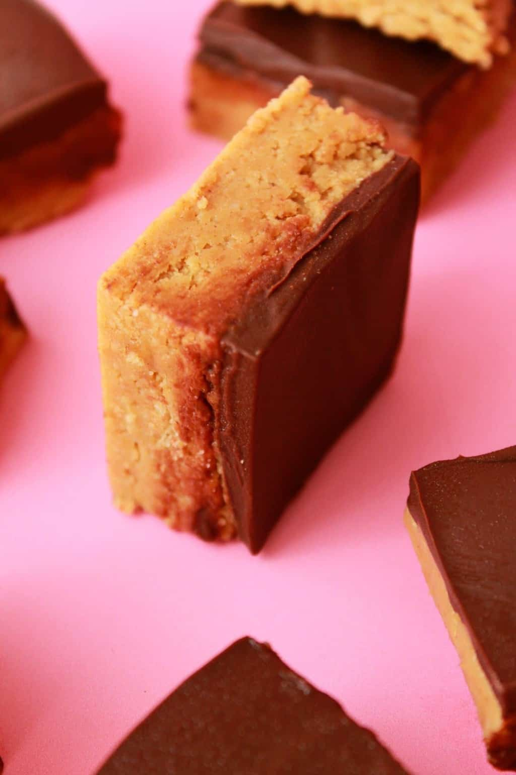 Vegan Peanut Butter Squares. Easy 5-ingredient recipe packed with peanut butter and crushed cookies, and topped with vegan chocolate! #vegan #lovingitvegan #dessert #peanutbutter