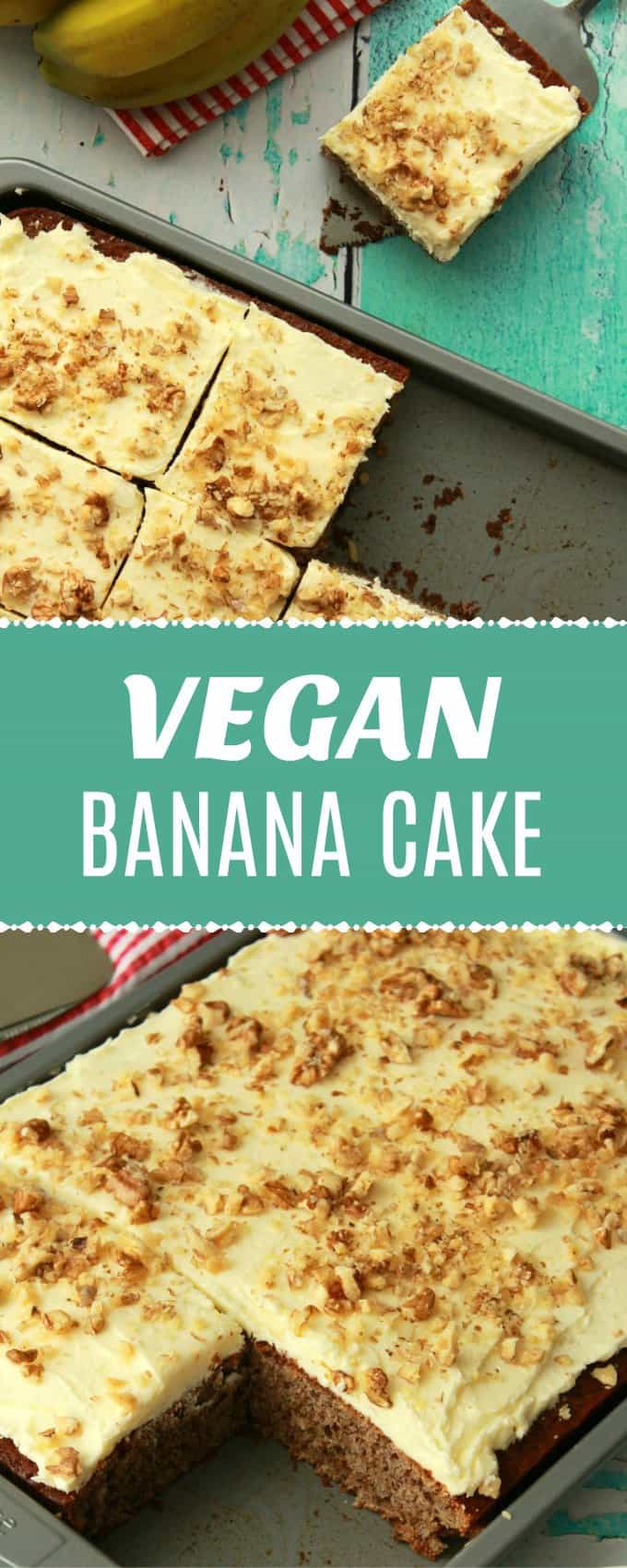 Perfectly moist, light and fluffy vegan banana cake loaded with banana flavor and topped with a delicious lemon frosting. Can be made as a sheet cake or a layer cake. #vegan #dairyfree | lovingitvegan.com