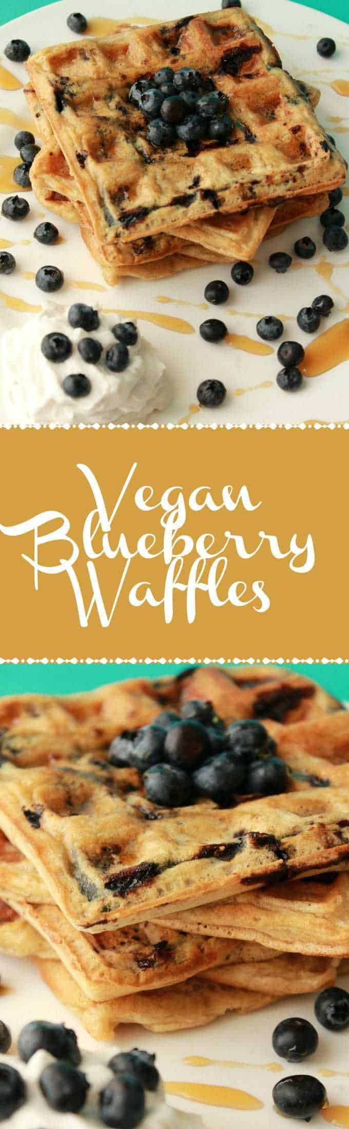 Crispy, golden-brown vegan blueberry waffles. Perfect for breakfast served with vegan whipped cream, extra blueberries and maple syrup. Vegan Breakfast | Vegan Waffles | Vegan Recipes | Vegan Dessert | Vegan Food | lovingitvegan.com
