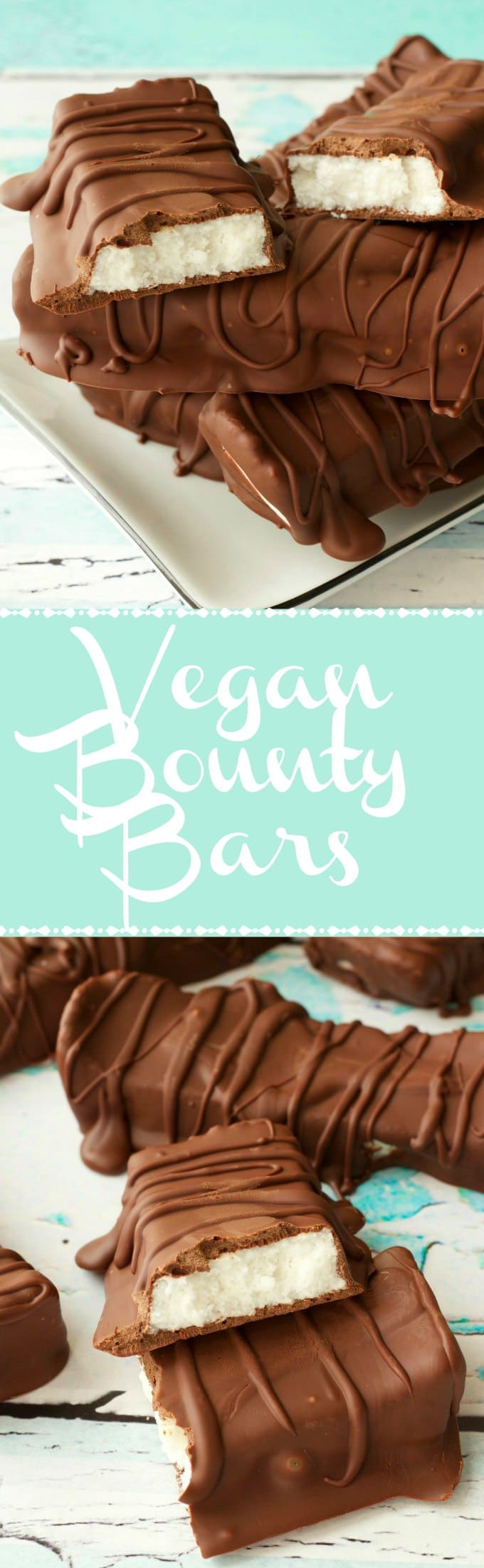 Vegan chocolate coconut bars, also known as bounty bars! Soft and creamy coconut centers smothered in vegan chocolate for a deliciously simple dessert. Vegan | Vegan Chocolate | Vegan Coconut Bars | Vegan Bounty Bars | Vegan Dessert | Dairy Free | Gluten Free | Gluten Free Vegan | lovingitvegan.com
