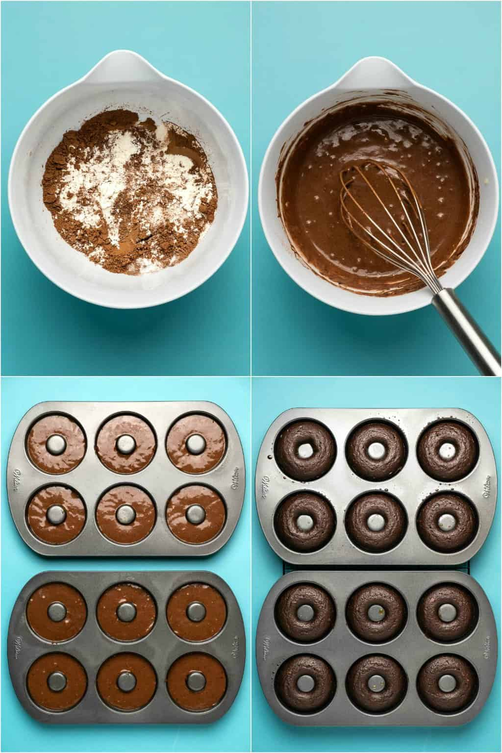 Step by step process photo collage of making vegan chocolate donuts.