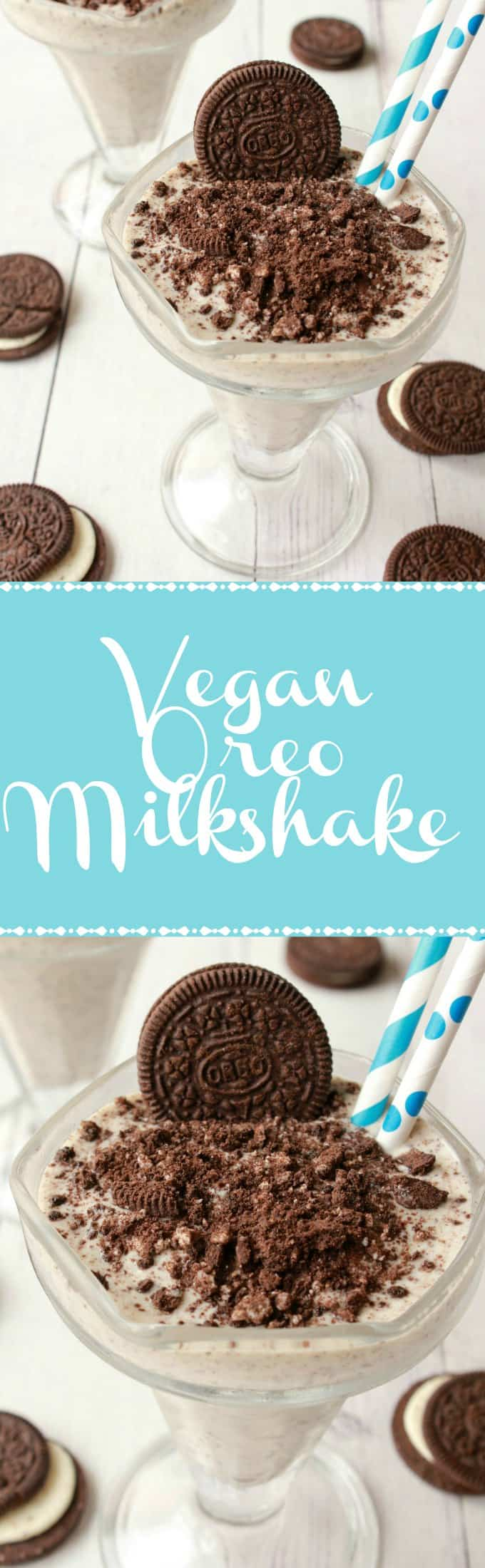 Super easy 3-ingredient Vegan Oreo Milkshake. This rich and creamy milkshake is ready in 5 minutes and makes a delicious dessert. Vegan | Vegan Dessert | Vegan Milkshake | Vegan Food | Vegan Recipes | lovingitvegan.com