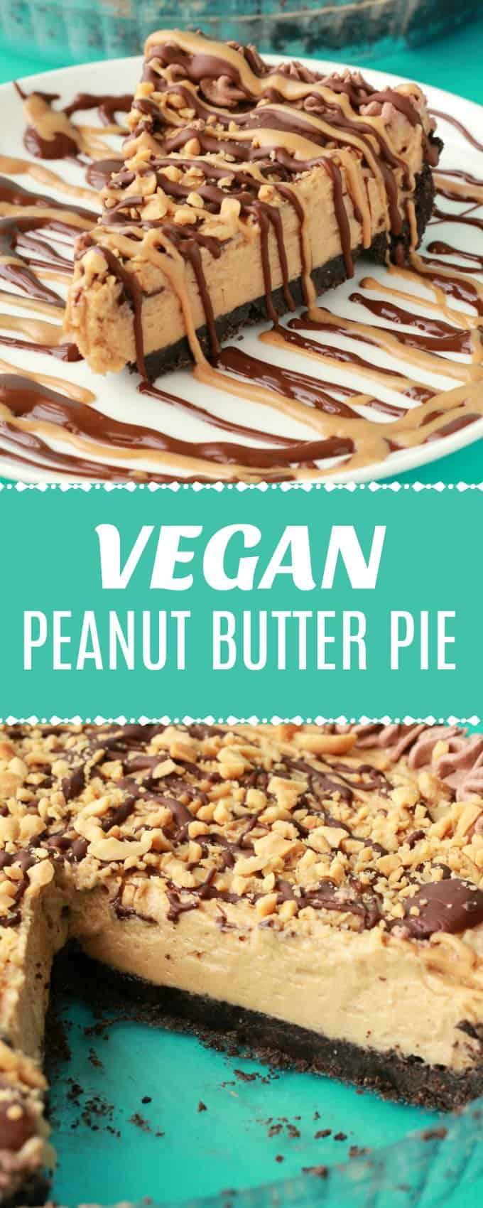 Vegan Peanut Butter Pie. Purely irresistible no-bake vegan pie with an oreo cookie crust, creamy peanut butter filling and drizzled peanut butter and chocolate topping! | lovingitvegan.com