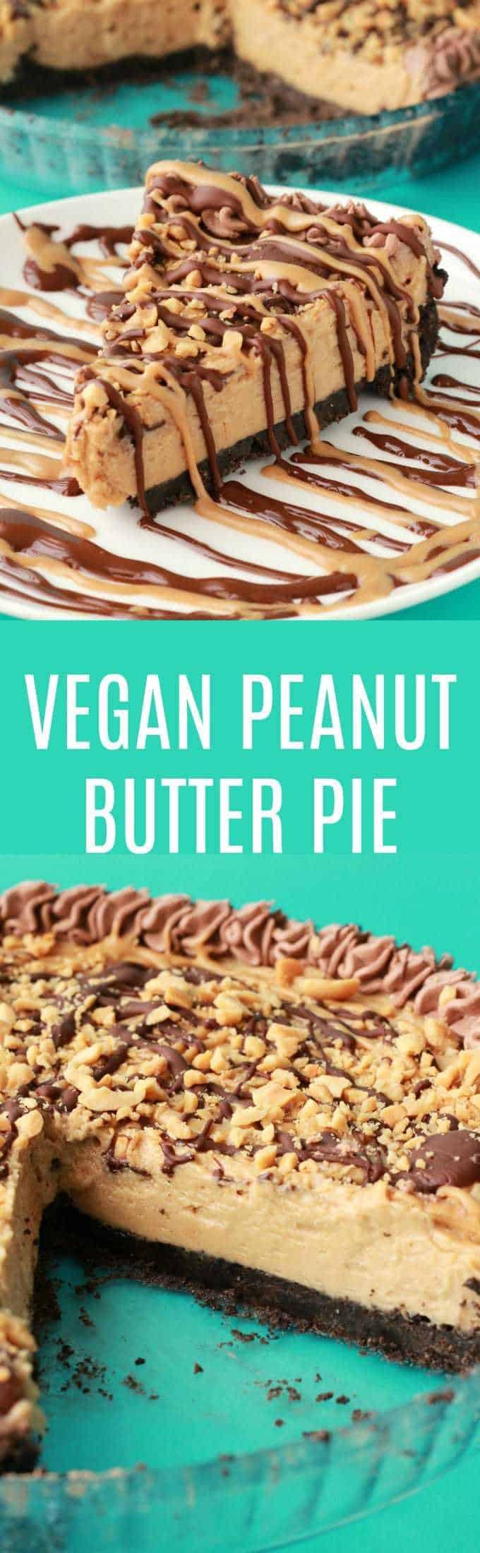 Vegan Peanut Butter Pie. Purely irresistible no-bake vegan pie with an oreo cookie crust, creamy peanut butter filling and drizzled peanut butter and chocolate topping! Vegan | Vegan Dessert | Vegan Pie | Vegan Recipes | Dairy Free | lovingitvegan.com