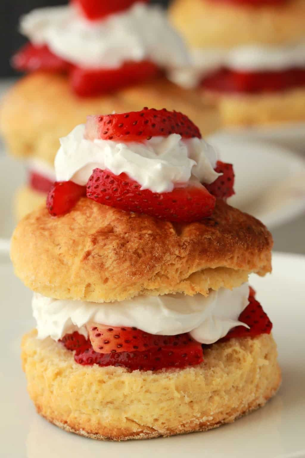 Vegan strawberry shortcake topped with whipped cream and strawberries on a white plate.