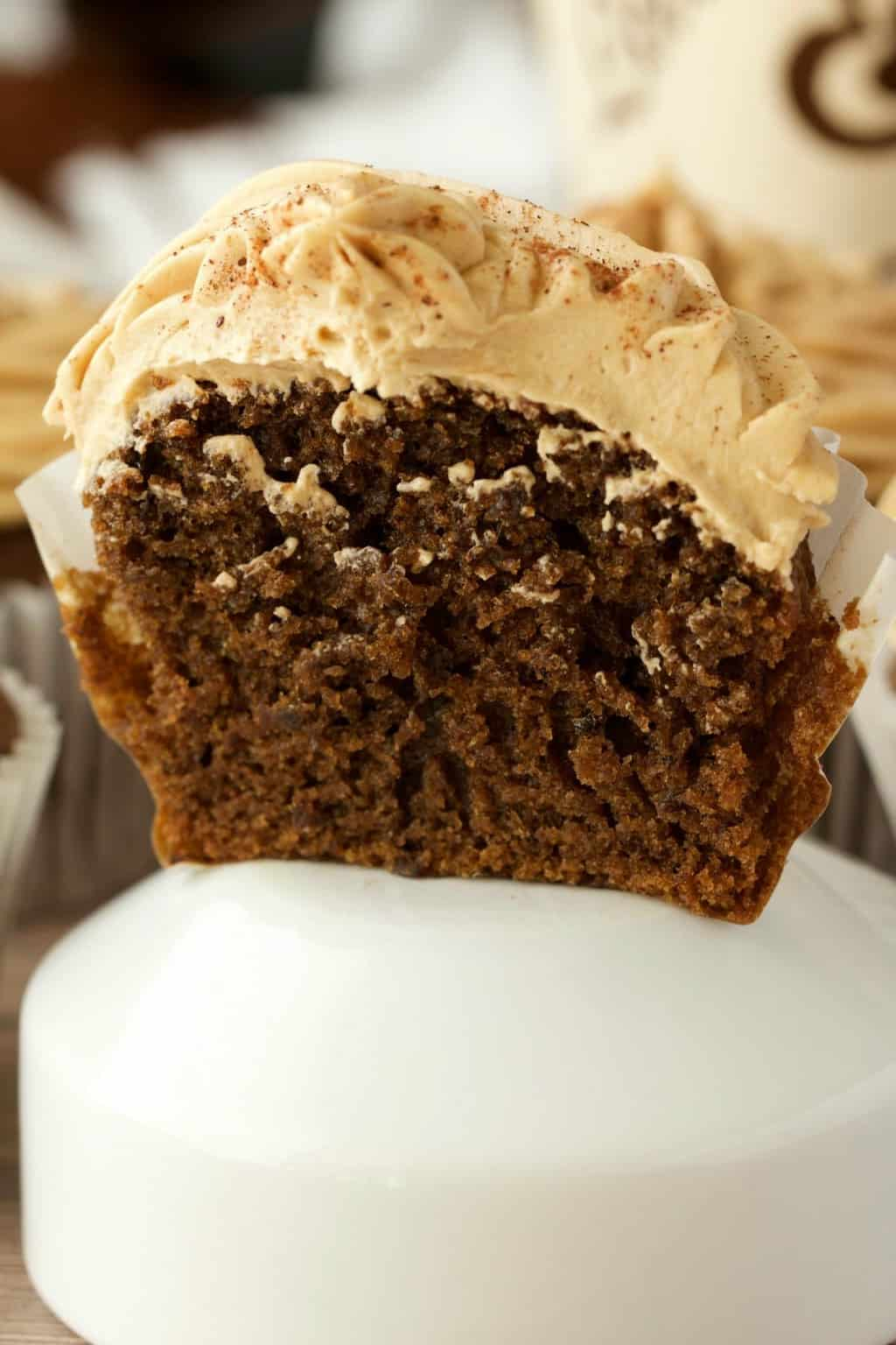 Vegan coffee cupcake cut in half to show the center.
