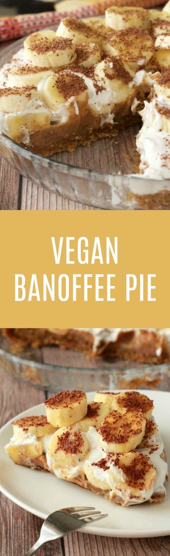 Insanely delicious no-bake vegan banoffee pie with a walnut date crust, date caramel center and whipped coconut cream topping. Vegan | Raw Vegan | Vegan Dessert | Vegan Recipes | Gluten Free | Gluten Free Vegan | Dairy Free | lovingitvegan.com