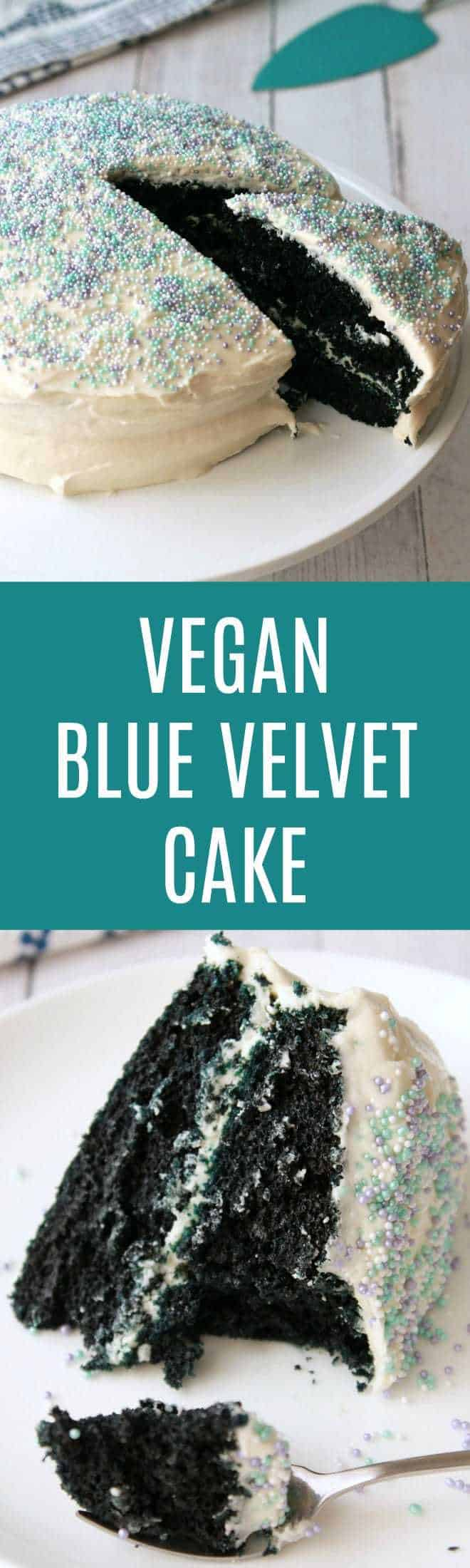 Midnight blue vegan blue velvet cake. This 2-layer vegan cake is perfectly moist, rich and delicious. Frosted with vegan vanilla frosting. Vegan | Vegan Cakes | Vegan Desserts | Vegan Recipes | Vegan Food | lovingitvegan.com