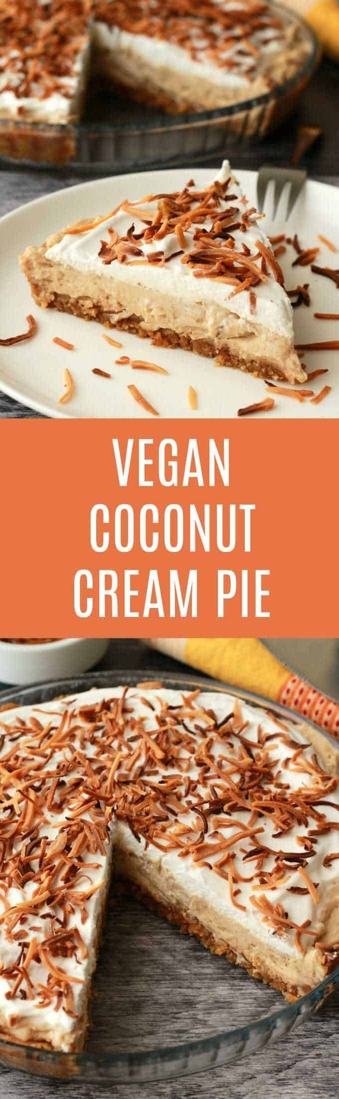 Vegan Coconut Cream Pie. 3-layers of deliciousness topped with toasted coconut flakes! Vegan and gluten-free! Vegan | Vegan Desserts | Vegan Recipes | Gluten-Free Vegan | Vegan Pie | lovingitvegan.com