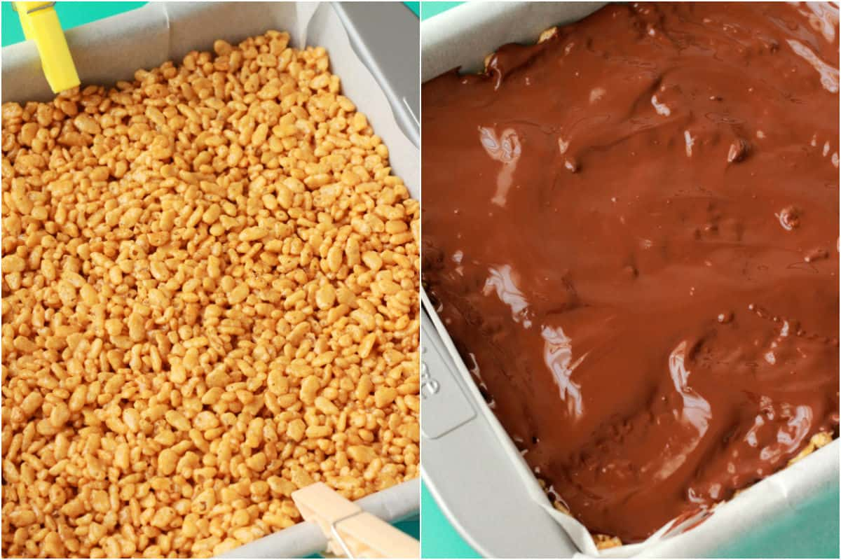Two photo collage showing peanut butter rice krispie treats in a square dish and then topped with melted chocolate.