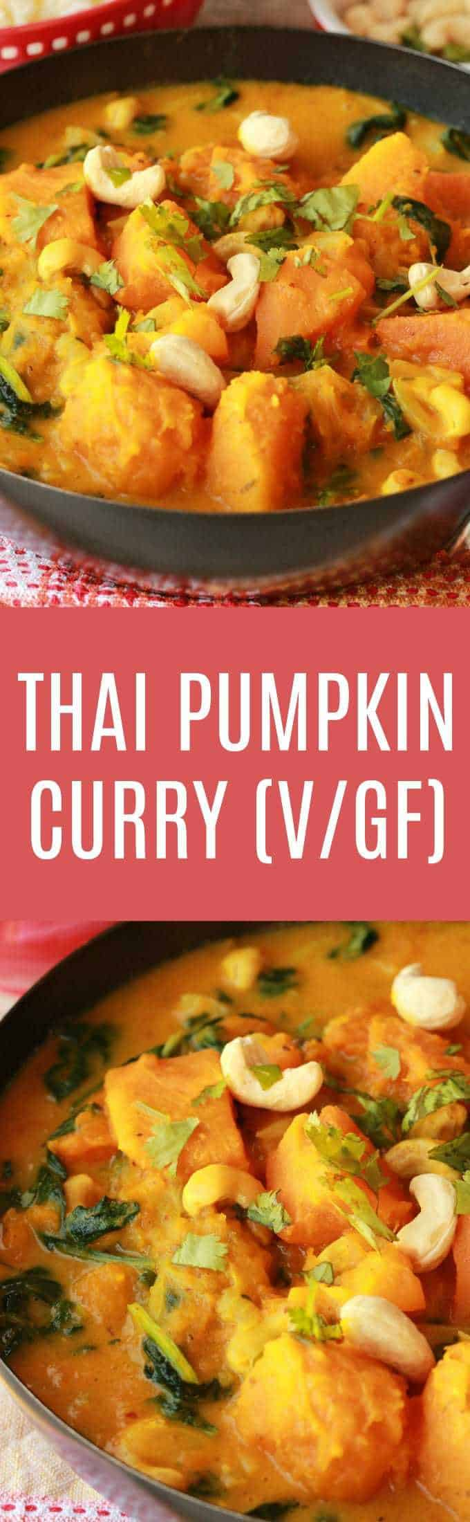 Hearty and satisfying Thai inspired pumpkin curry! This easy 10-ingredient recipe (including the rice!) is ready in less than 45 minutes and makes a fabulously delicious dinner. Vegan | Vegan Dinner | Vegan Entree | Savory | Gluten Free  #vegan #pumpkincurry #vegandinner #glutenfree | lovingitvegan.com