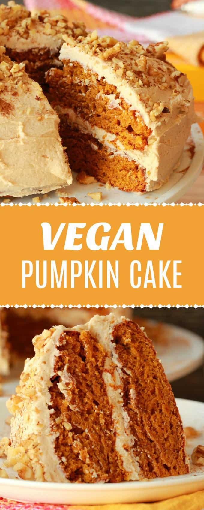 Perfectly moist and utterly delicious vegan pumpkin cake with a cinnamon buttercream frosting. Spicy and colorful and ideal for any special occasion! | lovingitvegan.com