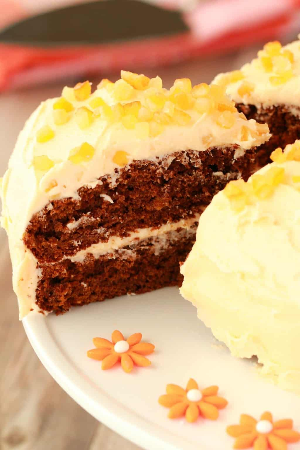 Vegan Gingerbread Cake with Orange Frosting