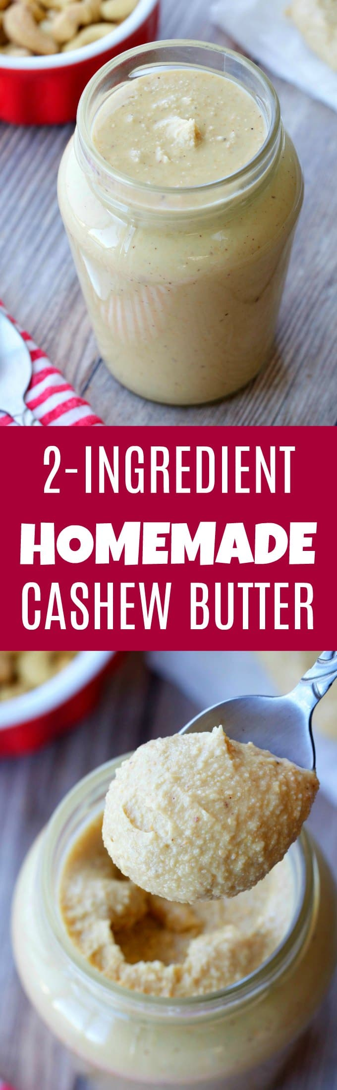 Learn how to make cashew butter with this easy 2-ingredient recipe. Rich, creamy and smooth homemade cashew butter, ready in 10 minutes. Vegan and Gluten-Free | lovingitvegan.com