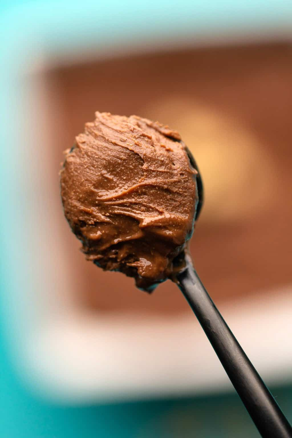 A spoonful of vegan nutella.