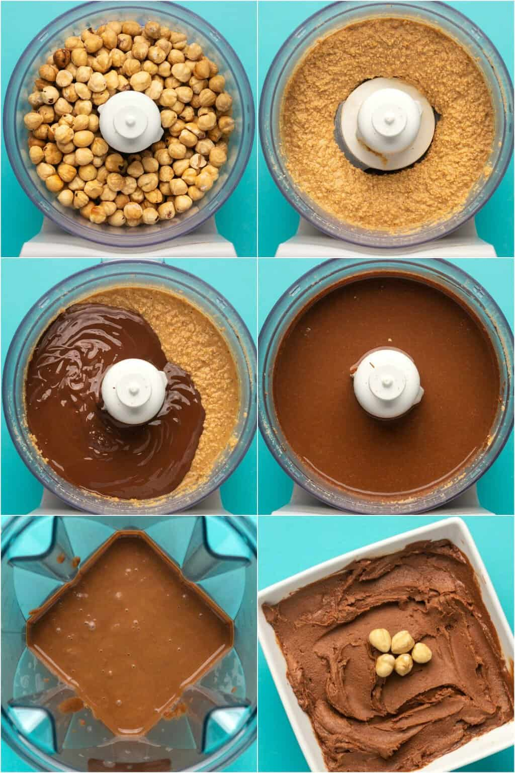 Step by step process photo collage of making vegan nutella.