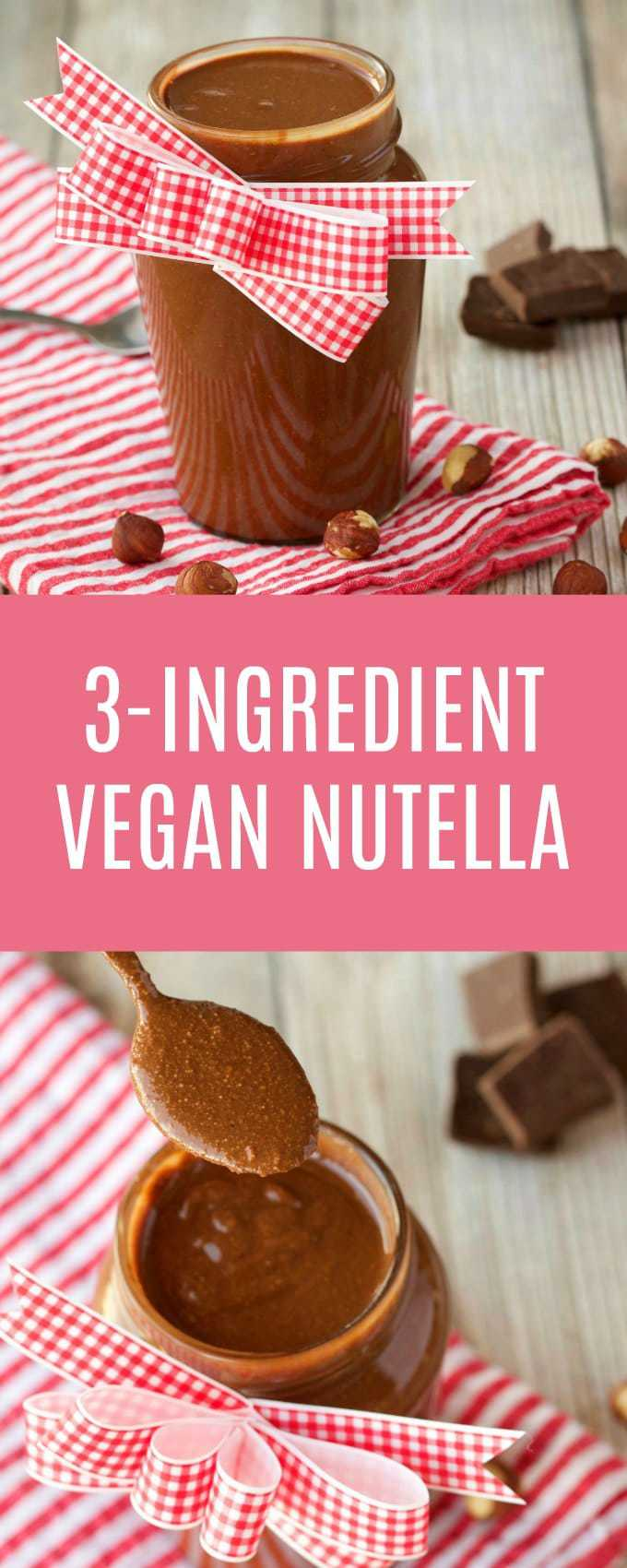 3-Ingredient vegan nutella, perfect as a spread, to use in smoothies, or just to eat with a spoon! Vegan | Vegan Desserts | Gluten-Free Vegan | Dairy Free #vegan #vegannutella #vegandesserts #glutenfree