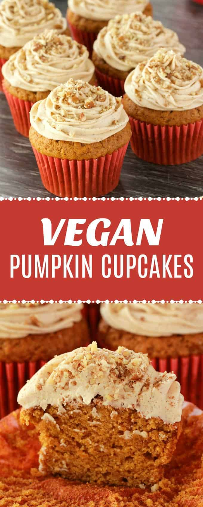 Rich, moist and tall vegan pumpkin cupcakes topped with a velvety pumpkin spice frosting and crushed pecans. Beautifully colorful and fall inspired. | lovingitvegan.com
