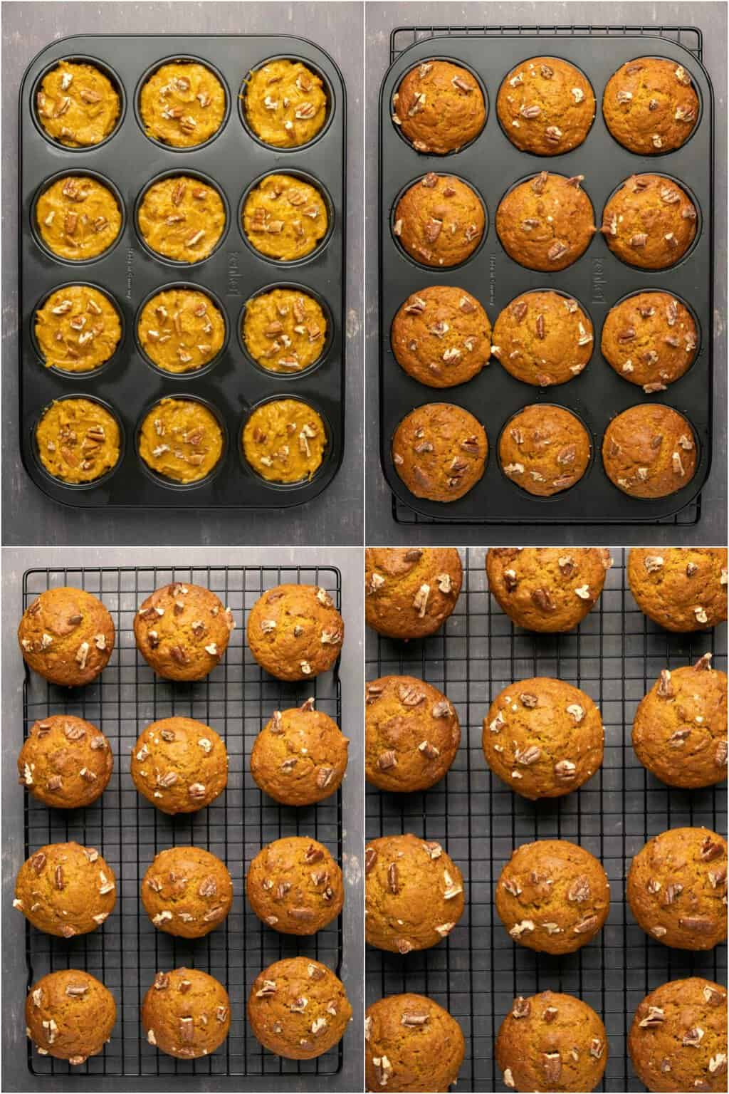 Step by step process photo collage of making vegan pumpkin muffins.