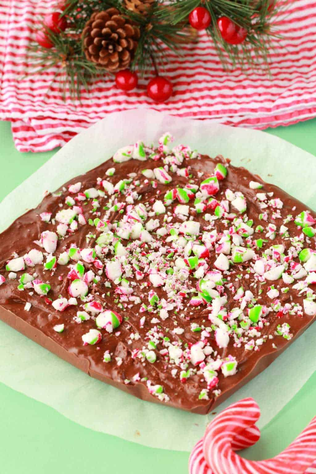 Super easy 3-ingredient vegan chocolate peppermint fudge topped with crushed peppermint candy canes. Creamy and crazy delicious and ideal for the holidays! #vegan #lovingitvegan #peppermintfudge #fudge #vegandesserts #glutenfree #dairyfree | lovingitvegan.com