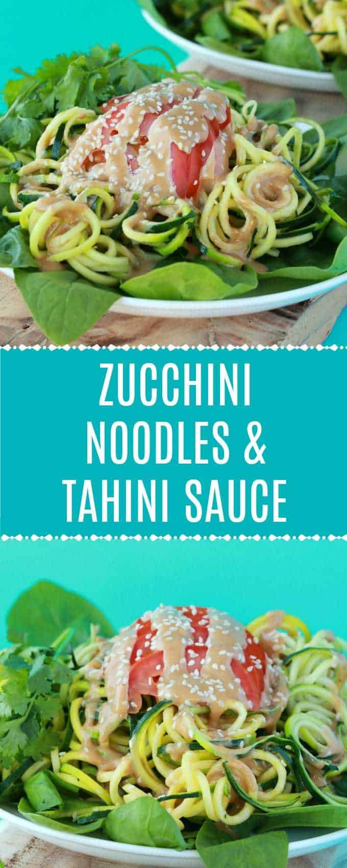 Fresh and delicious zucchini noodles topped with tahini sauce. This vibrant and colorful vegan meal is bursting with flavor and goodness! Raw and Gluten-Free. #vegan #lovingitvegan #zucchininoodles #rawvegan #glutenfree | lovingitvegan.com