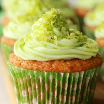 Vegan key lime cupcakes in a row.