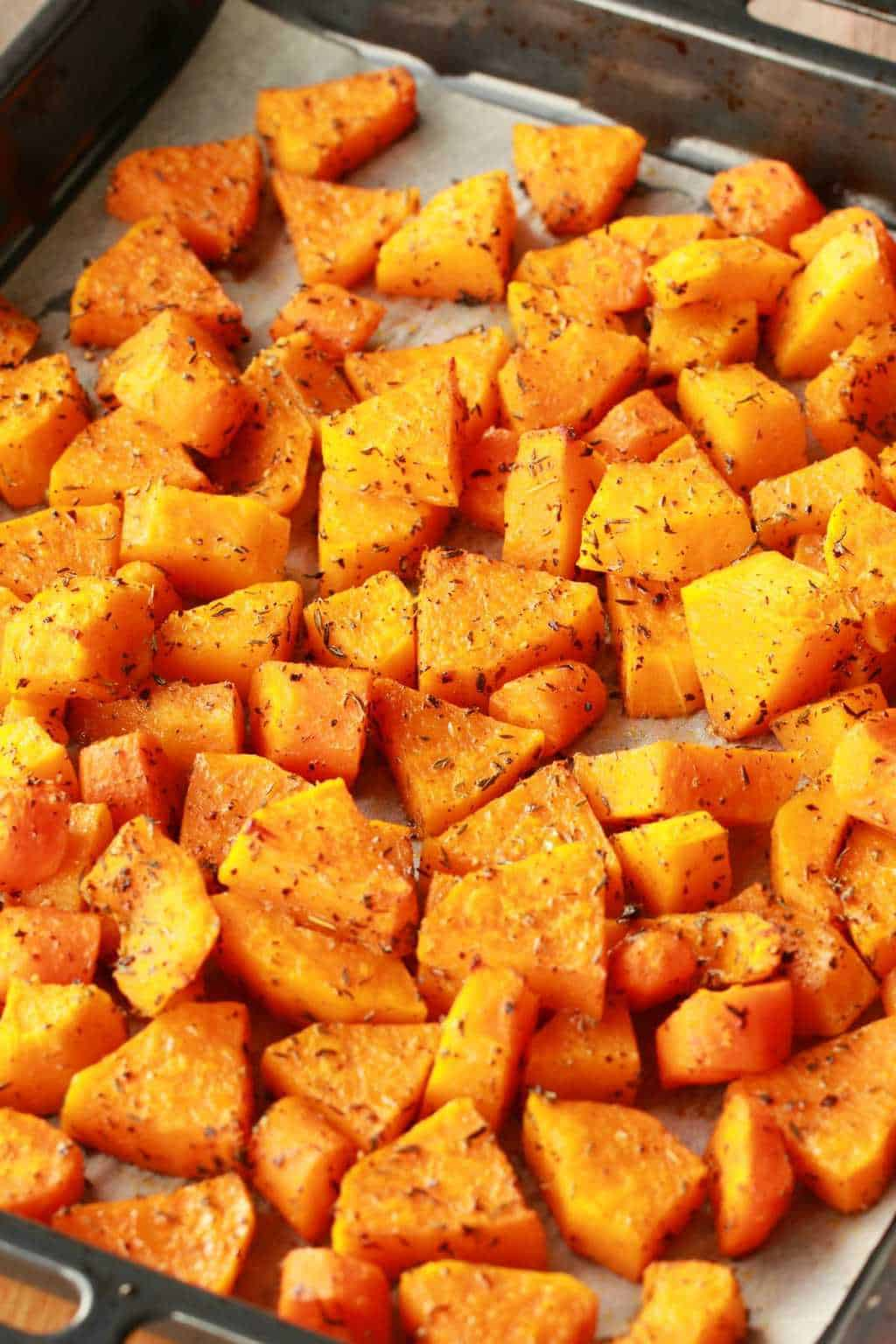 Roasted Butternut and Carrots on an oven tray