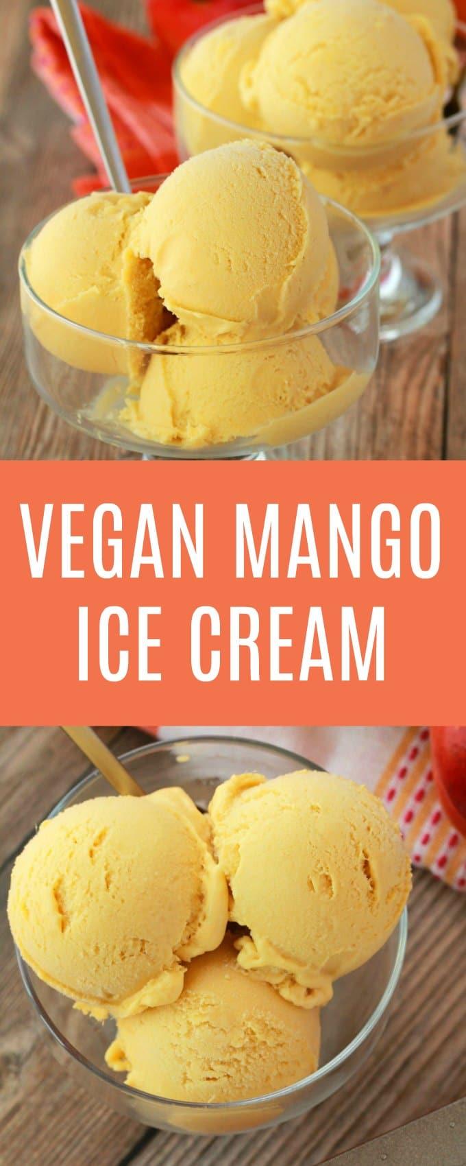 Creamy and divinely textured vegan mango ice cream. This easy 5-ingredient recipe is perfectly sweet, a gorgeous color and has all the mango flavor you could dream of! #vegan #lovingitvegan #veganicecream #vegandessert #dairyfree #glutenfree | lovingitvegan.com