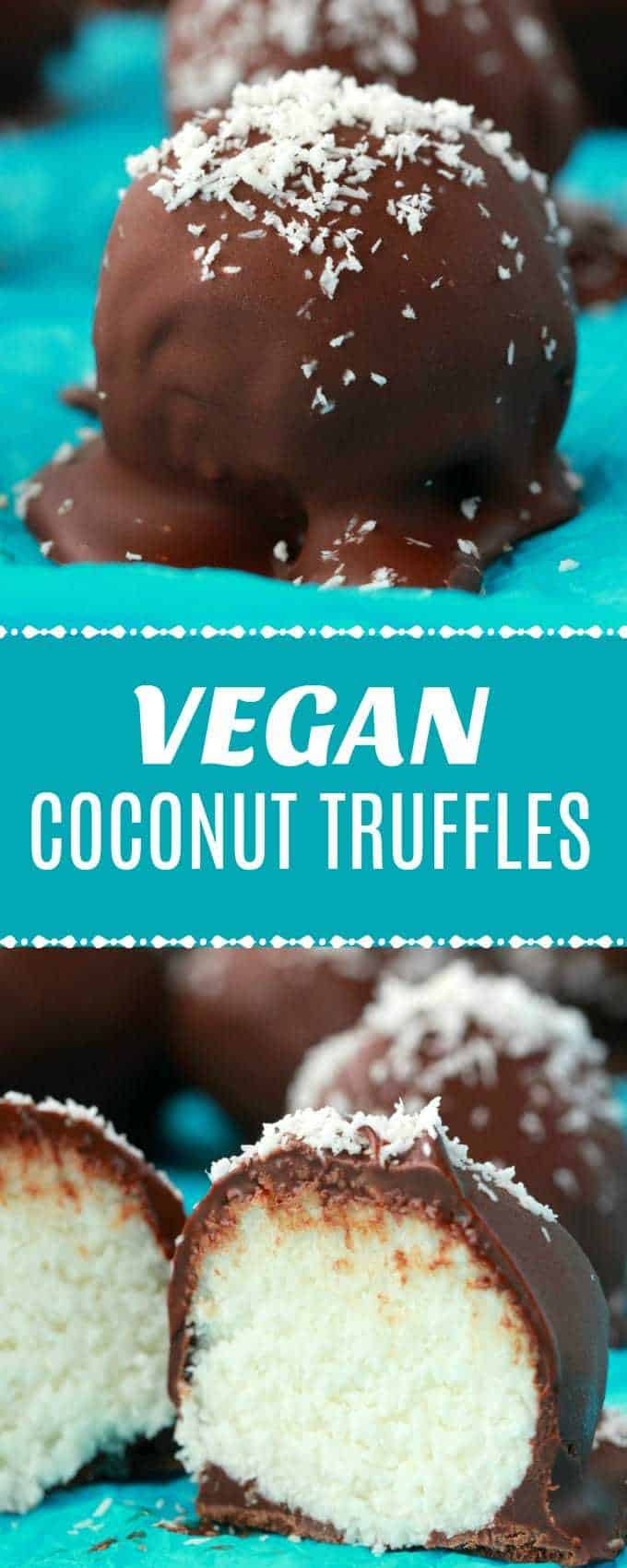 Cute and fun vegan coconut truffles! Perfectly sweet coconut and vegan condensed milk center smothered in delicious vegan chocolate! What could be better? All this and they're gluten-free too! | lovingitvegan.com