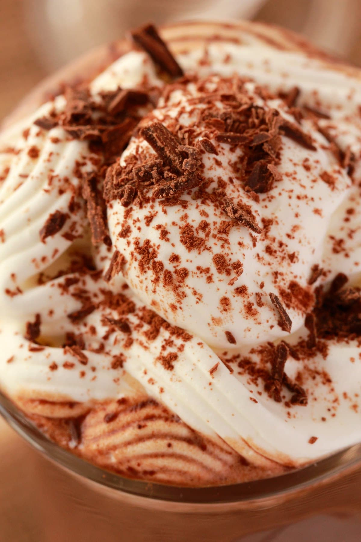 Vegan hot chocolate topped with whipped cream and chocolate shavings.