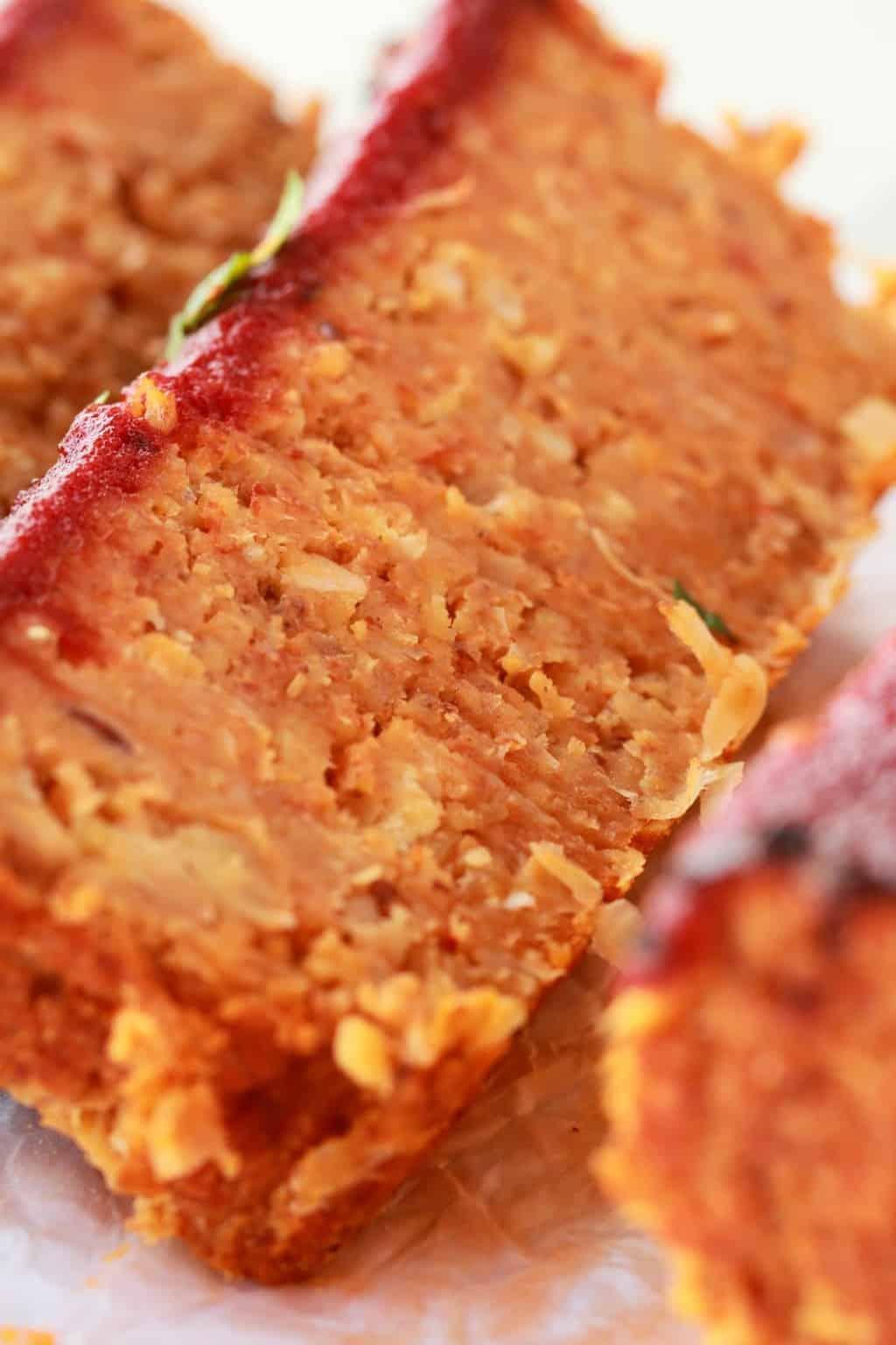 Sliced vegan meatloaf close up.
