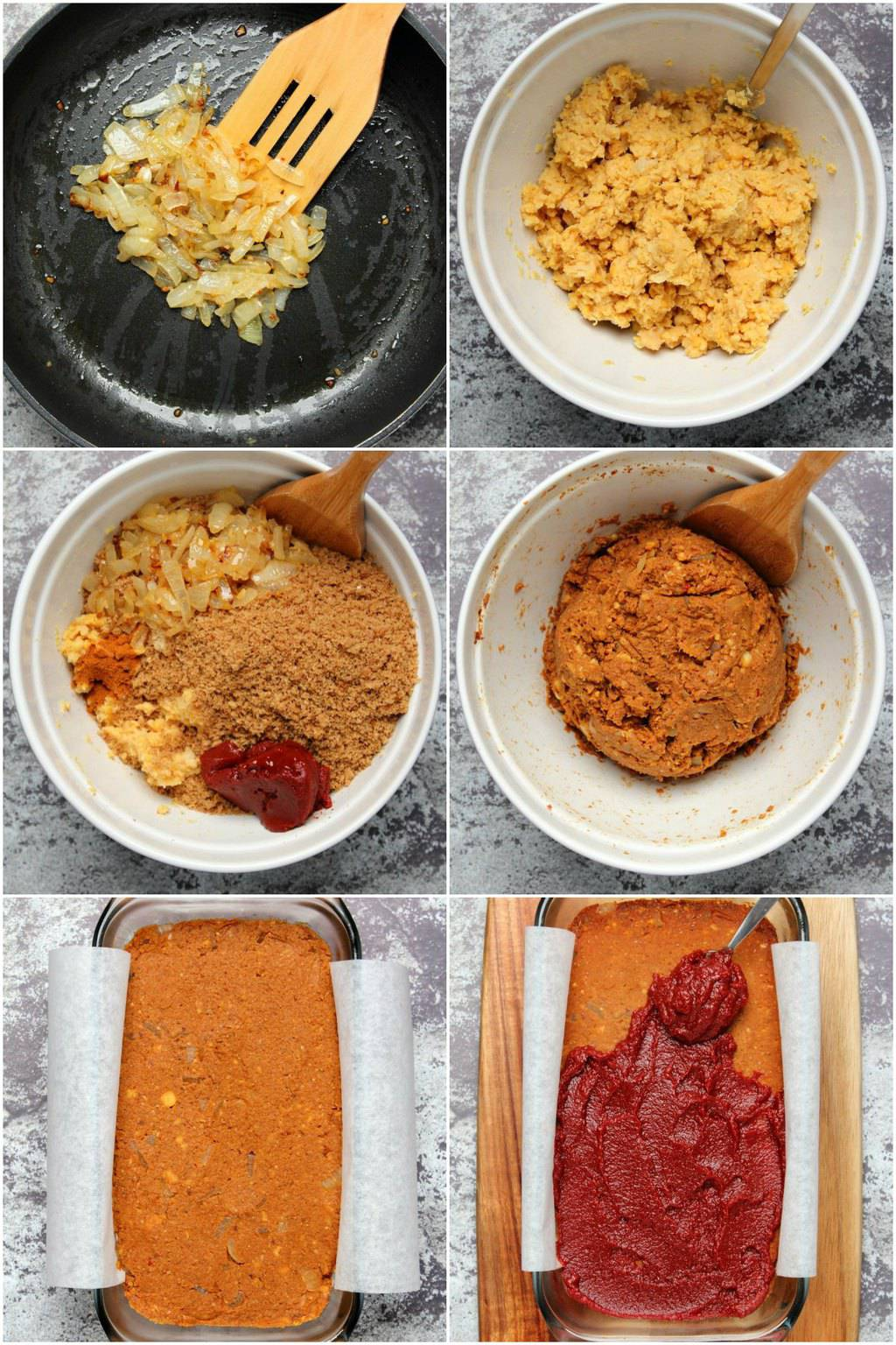 Step by step process photos of making vegan meatloaf.