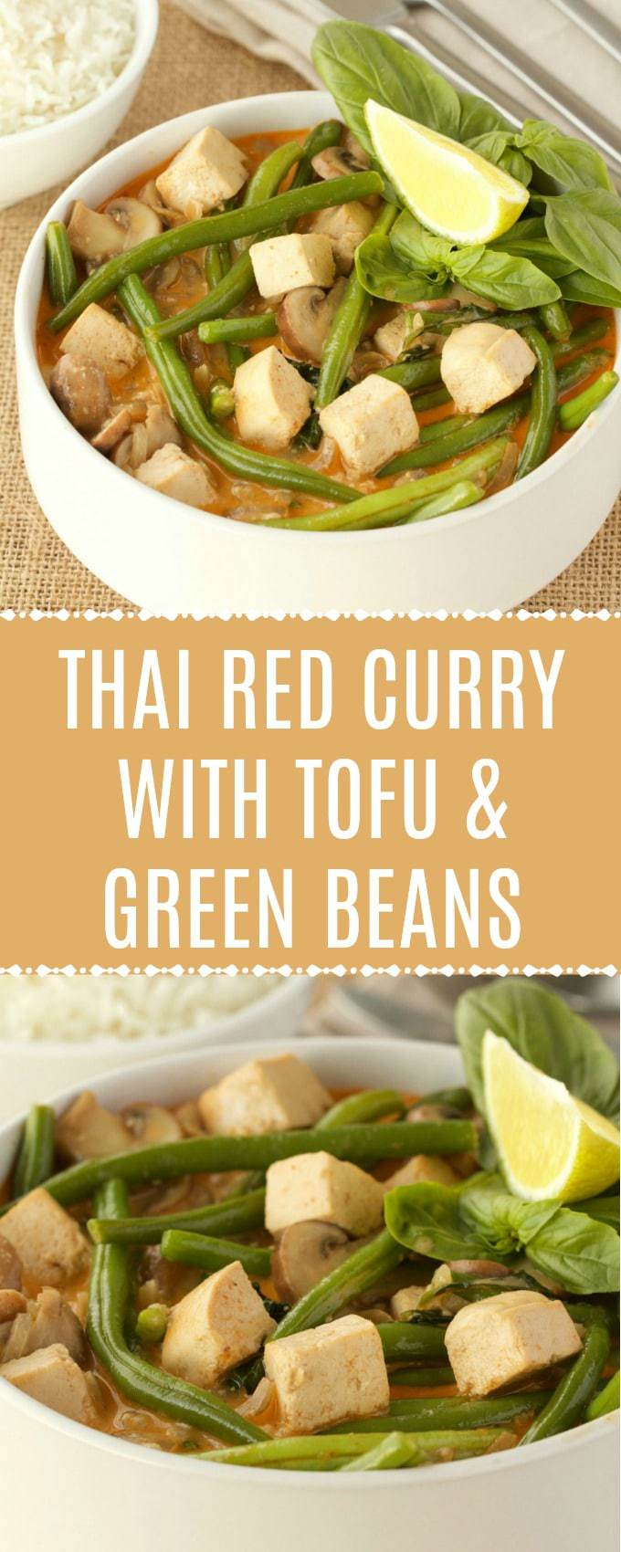 Rich and mildly spicy Thai red curry with tofu and green beans. This veggie-packed vegan red curry is super simple to make yet gourmet to the extreme! Perfect for a fancy dinner but easy enough for a regular weeknight dinner too! | lovingitvegan.com
