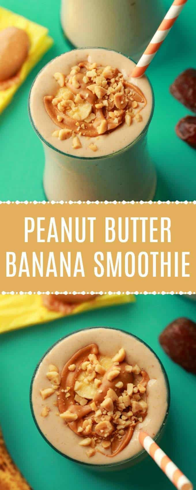 Creamy and delicious peanut butter banana smoothie. This easy 4-ingredient recipe is high in protein, ready in 5 minutes and perfect for breakfast! | lovingitvegan.com