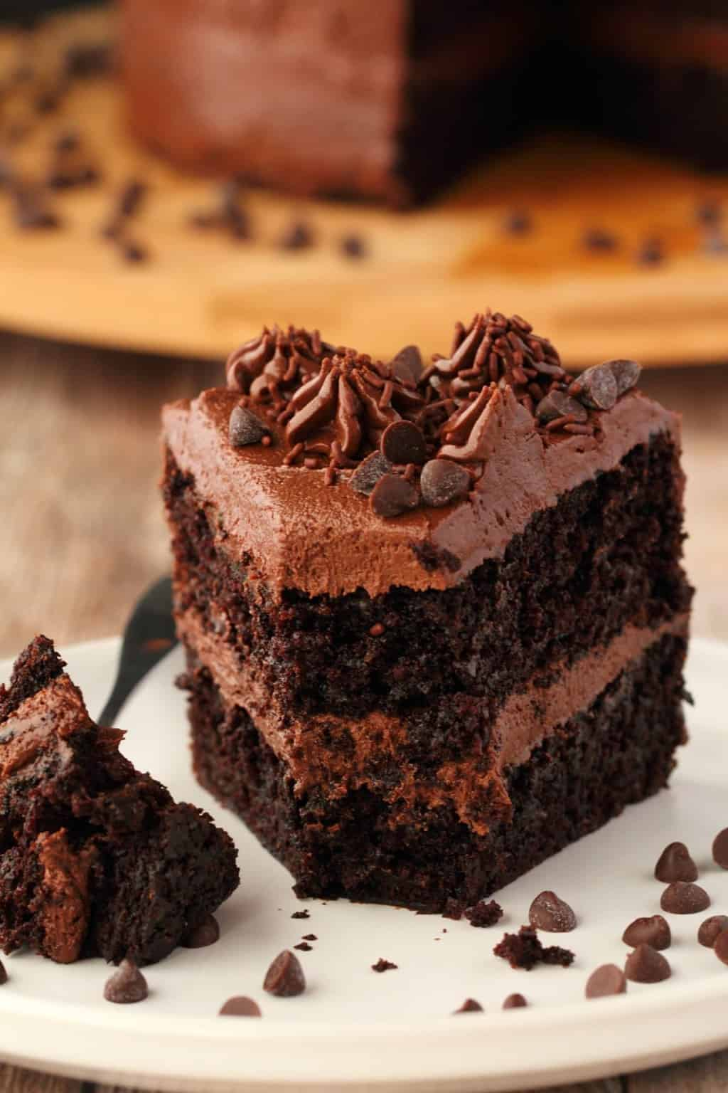 Chocolate Zucchini Cake With White Frosting