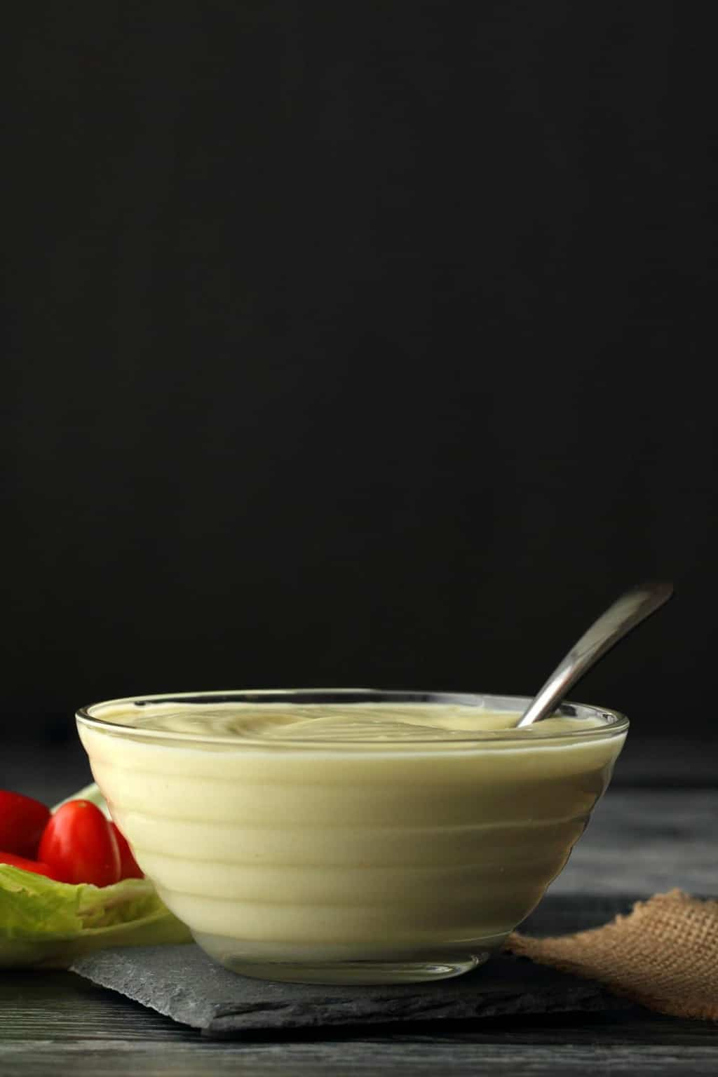 Vegan Mayonnaise in a glass bowl.