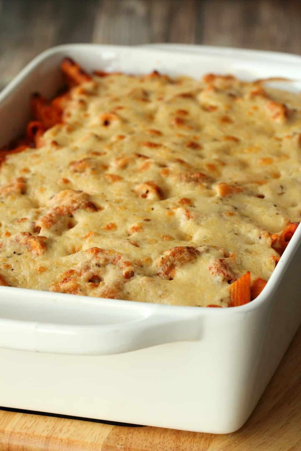 Vegan Pasta Bake straight out of the oven in a rectangular white oven dish.